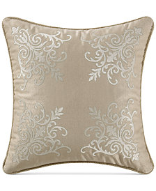 "Waterford Britt Reversible 16"" Square Damask Decorative Pillow"
