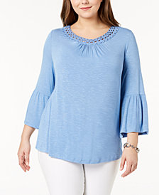 John Paul Richard Plus Size Crochet-Trim Lantern-Sleeve Blouse