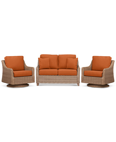 Willough Wicker Outdoor 3-Pc. Set (1 Loveseat & 2 Swivel Gliders) with Custom Sunbrella® Colors, Created For Macy's
