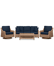 Willough Wicker Outdoor 4-Pc. Set (1 Sofa, 2 Swivel Gliders & 1 Coffee Table) with Custom Sunbrella® Colors, Created For Macy's