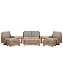 Willough Wicker Outdoor 8-Pc. Set (1 Loveseat, 2 Swivel Gliders, 1 Coffee Table, 2 Ottomans & 2 End Tables) with Custom Sunbrella®  Colors, Created For Macy's