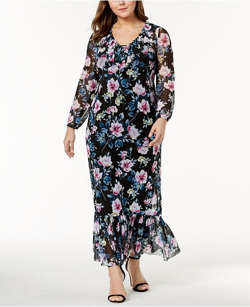 Ny Collection Plus Size Printed Sheer Maxi Dress Dresses Plus