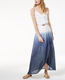 BCX Juniors' Dip-Dyed Wrap Maxi Dress with Belt