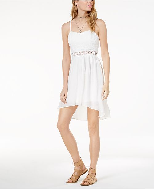 High Illusion Lace BCX Dress Low White Juniors' F4Tng