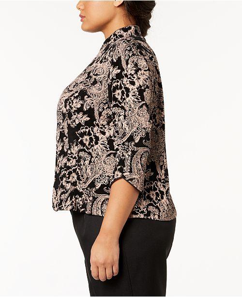 0c4a3c2960eec Alex Evenings Plus Size Glitter Paisley-Print Jacket   Top Set ...