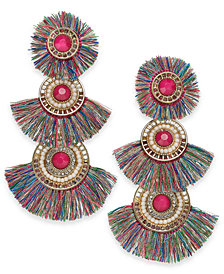 Thalia Sodi Gold-Tone Stone, Bead & Fringe Fan Drop Earrings, Created for Macy's