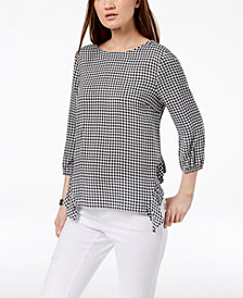 Monteau Petite Printed Bow-Back Peasant Top, Created for Macy's