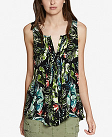Sanctuary Floral-Print Pleated Top