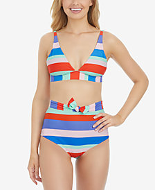Raisins Juniors' Cabana Girl Miami Halter Bikini Top & High-Waist Bottoms