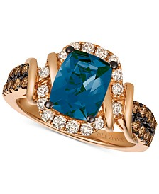 Le Vian Chocolate & Nude™ Deep Sea Blue Topaz™ (2-1/10 ct. t.w.) & Diamond (5/8 ct. t.w.) Ring in 14k Rose Gold