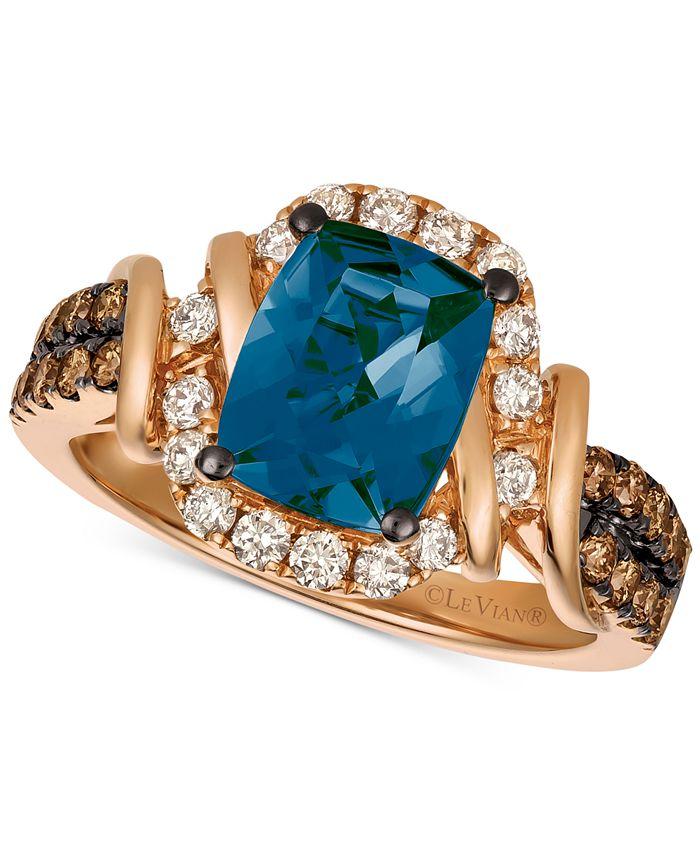 Le Vian - Deep Sea Blue Topaz™ (2-1/10 ct. t.w.) & Diamond (5/8 ct. t.w.) Ring in 14k Rose Gold