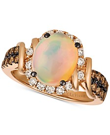 Chocolate & Nude™ Neopolitan Opal™ (7/8 ct. t.w.) & Diamond (5/8 ct. t.w.) Ring in 14k Rose Gold