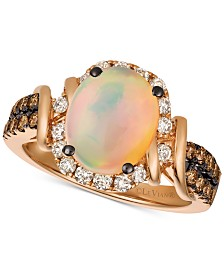 Le Vian® Chocolate & Nude™ Neopolitan Opal™ (7/8 ct. t.w.) & Diamond (5/8 ct. t.w.) Ring in 14k Rose Gold