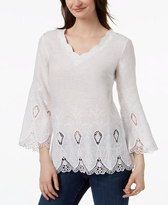 Linen Bell Sleeve Blouse, Created For Macy's by Charter Club