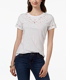 Charter Club Cotton Embroidered T-Shirt, Created for Macy's