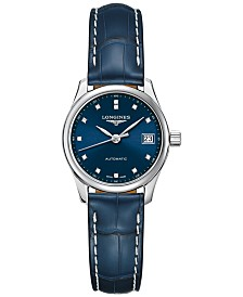 Longines Women's Swiss Automatic Master Collection Diamond-Accent Blue Alligator Leather Strap Watch 25.5mm