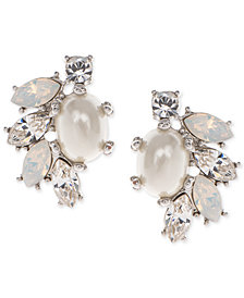 Marchesa Gold-Tone Imitation Pearl, Stone & Crystal Cluster Stud Earrings