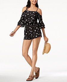 Miken Juniors' Star-Print Cold-Shoulder Romper Cover-Up