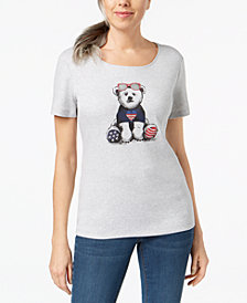 Karen Scott Petite Americana Studded Bear Cotton T-Shirt, Created for Macy's