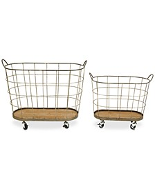 Metal Rolling Laundry Baskets, Set of 2