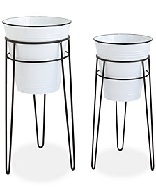 Metal Planters wth Stand, Set of 2