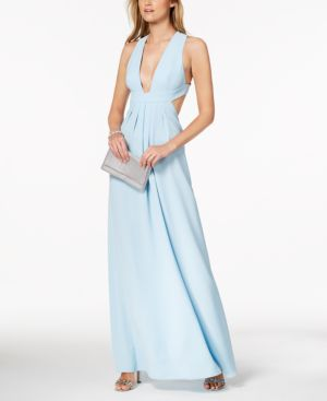 BACKLESS PLUNGE-NECK GOWN