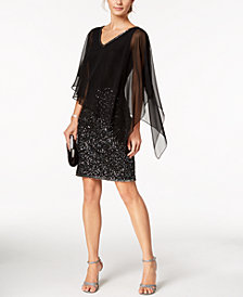 J Kara Poncho Overlay Sequin Sheath Dress