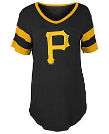 5th & Ocean Women's Pittsburgh Pirates Sleeve Stripe Relax T-Shirt