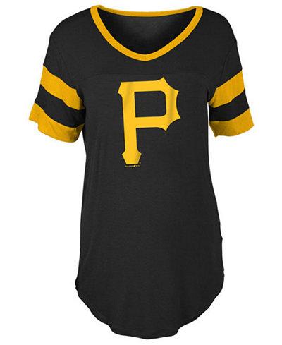 5th & Ocean Women's Pittsburgh Pirates Sleeve Stripe Relax T-Shirt