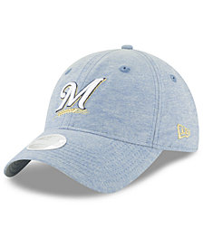 New Era Milwaukee Brewers Team Linen 9TWENTY Strapback Cap