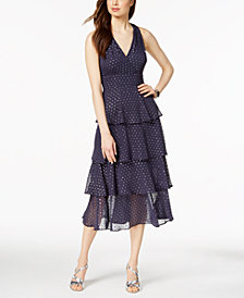 Taylor Metallic-Dot Chiffon Ruffle Midi Dress