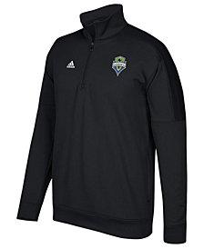 adidas Men's Seattle Sounders FC Logo Set Quarter-Zip Fleece Pullover