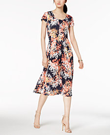 NY Collection Petite Printed Pleated-Skirt Fit & Flare Dress