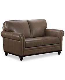 "Martha Stewart Collection Bradyn 64"" Leather Loveseat, Created for Macy's"