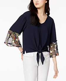 NY Collection Petite Mesh-Sleeve Tie-Waist Top