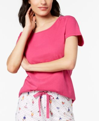 Cotton Short-Sleeve Soft Knit Pajama Top, Created for Macy's