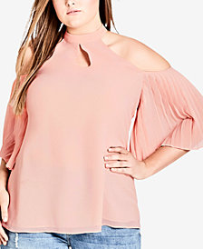 City Chic Trendy Plus Size Cold-Shoulder Halter Top