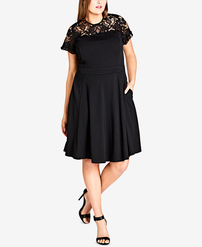 City Chic Trendy Plus Size Embroidered A-Line Dress