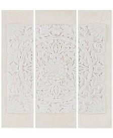 Madison Park Wooden Mandala White 3-Pc. 3D Embellished Canvas Wall Art Set