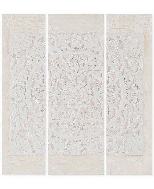 JLA Home Madison Park Wooden Mandala White 3-Pc. 3D Embellished Canvas Wall Art Set