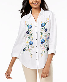 JM Collection Linen Floral-Embroidered Shirt, Created for Macy's