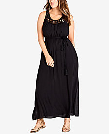City Chic Trendy Plus Size Crocheted Maxi Dress