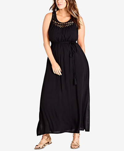 City Chic Trendy Plus Size Crocheted Maxi Dress