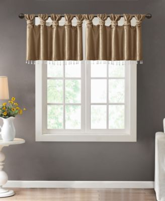 "Emilia 50"" x 26"" Lined Faux-Silk Twisted Tab Curtain Valance"