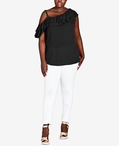 City Chic Trendy Plus Size Ruffled Cold-Shoulder Top