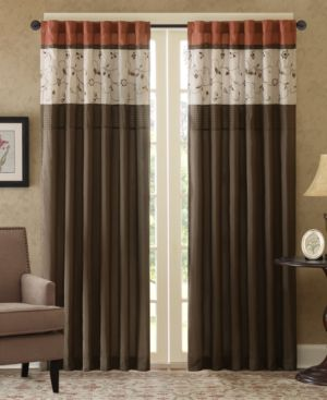 "Madison Park Serene 50"" x 84"" Colorblocked Embroidered Rod Pocket/Back Tab Curtain Panel 6090910"