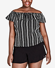 City Chic Trendy Plus Size Striped Off-The-Shoulder Top