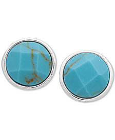 Lauren Ralph Lauren Silver-Tone Colored Stone Stud Earrings