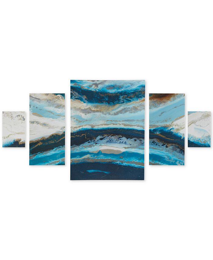 JLA Home - Madison Park Midnight Tide Blue 5-Pc. Gel-Coated Canvas Print Set