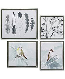 Madison Park Plume 4-Pc. Framed Hand-Embellished Gel-Coated Canvas Print Set